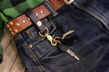 Heavy Duty Leather Keychain Brass Snap Hook